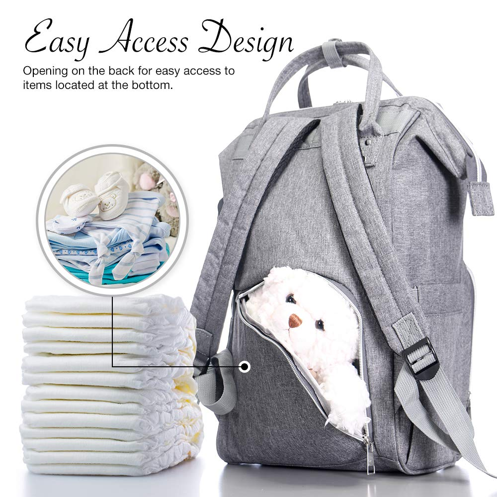 Insulated Pocket Travel Organizer Baby Care Changing Bag Durable and Stylish -Dark Grey BabyX Diaper Bag Backpack with Multi-Function Waterproof Maternity Nappy Bags for Mom /& Dad Large Capacity
