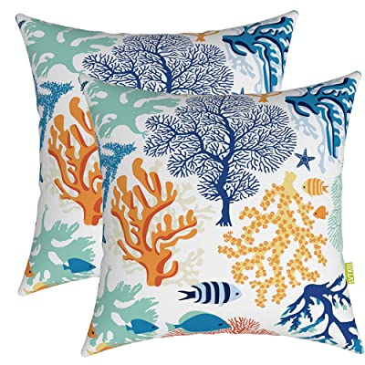 "LVTXIII Outdoor Accent Patio Toss Pillow Covers, Tropical Throw Pillow Case Sham, Square Cushion Covers for Indoor Outdoor Use 2 Pack, 17"" x17"" – Underwater World Coral: Kitchen & Dining"