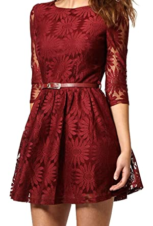 S&S Women's Vintage Round Neck Lace Embroidery Dress Swing Dresses With Belt