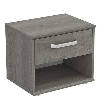 Demeyere Table de Chevet Style Contemporain-Design Sobre et Épuré-1 Tiroir  Coulissant et 1 Niche-Collection Divine, Chêne Hudson, L 43,9 cm x P 34,6  ...