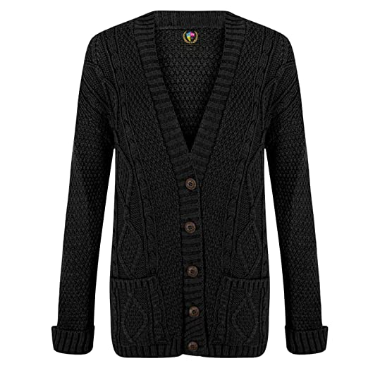 50ffdb9d6bf Cardigan Womens Cable Knit Chunky Ladies Grandad Boyfriend Pocket Button up  Top
