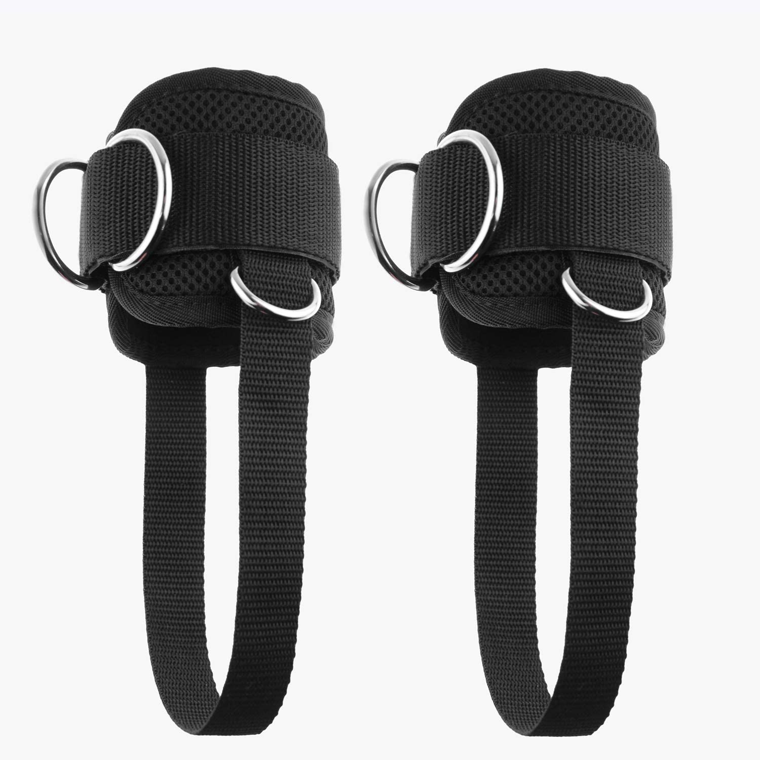 YCYU Upgrade Cable Machine Ankle Straps Fitness Cuffs for Men & Women, Neoprene Padded 4 D-Ring Heavy Duty Home Gym Cable Attachment for Glute Leg Butt Workout
