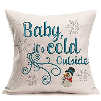 Asamour Christmas Theme Home Decor Pillowcase Baby It\'s Cold Outside Quotes  Saying Cotton Linen Throw Pillow Cushion Cover Snowflake Pillow Case ...