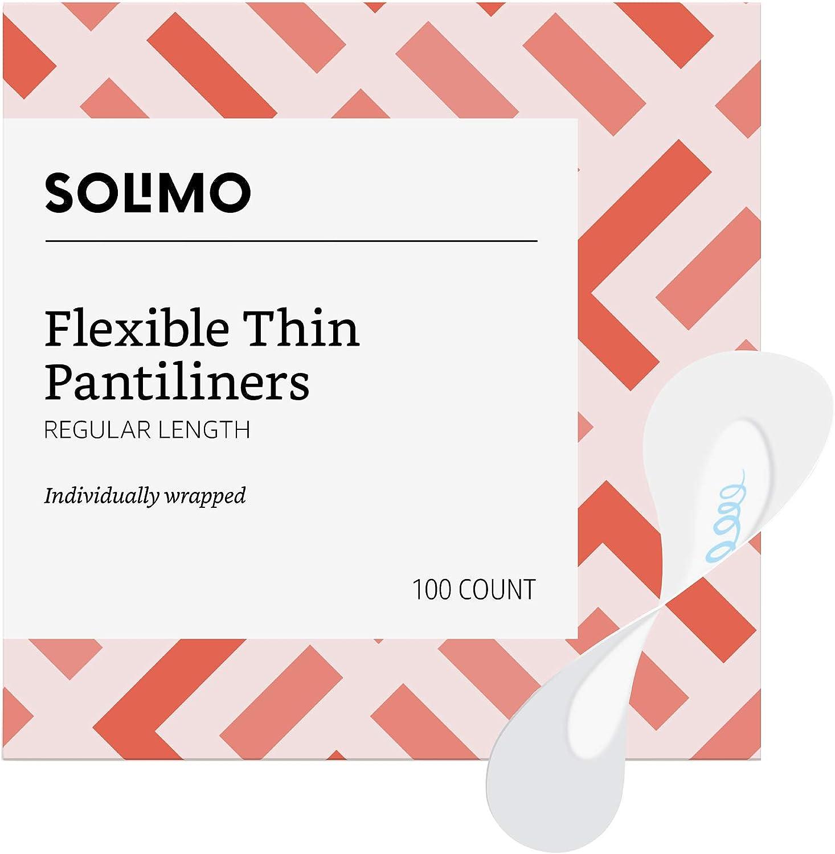 Amazon Brand - Solimo Flexible Thin Pantiliner, Regular Length, 100 Count
