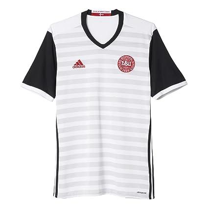 Adidas Dänemark Auswärts Camiseta, Hombre, Gris (Blanco/Negro), 2XL