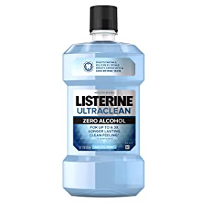 Listerine Ultraclean Zero Alcohol Tartar Control Mouthwash, Oral Rinse to Help Fight Bad Breath and Tartar, for Cleaner, Naturally White Teeth, Less Intense Arctic Mint taste, 1 L