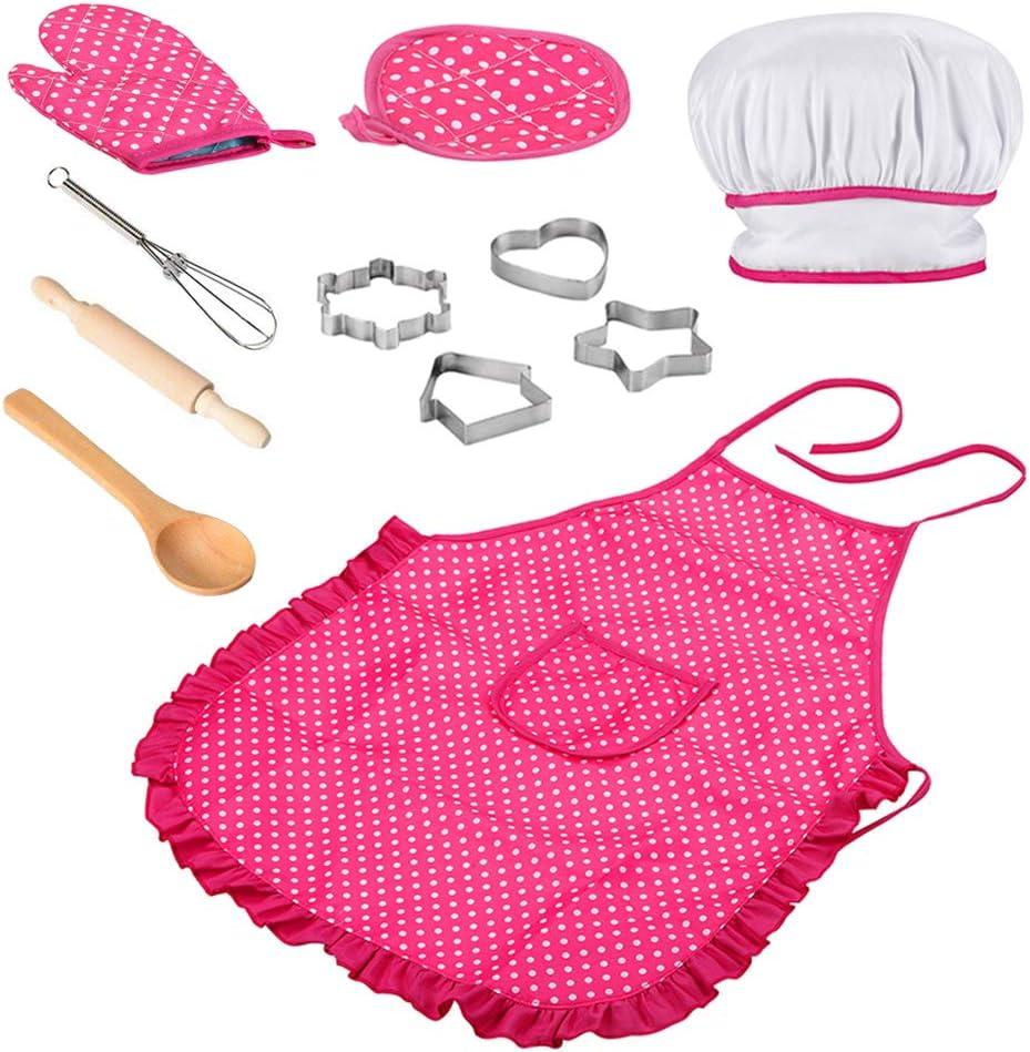 11Pcs//Set Kids Kitchen Cooking Baking Cooks Play Children/'s Chef Apron Pink