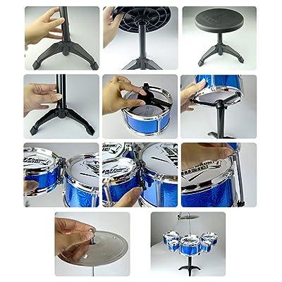 Corneliaa Los niños Instrumento de Juguete Musical 5 Tambores de simulación de Jazz Kit de batería con Baquetas de Juguete Musical Educativo para niños: Juguetes y juegos