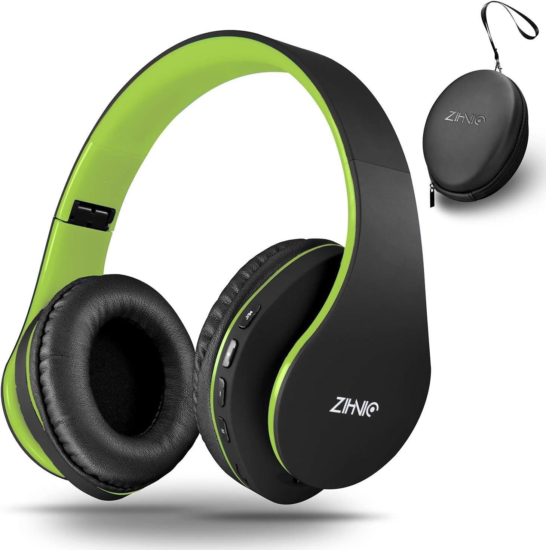 zihnic Auriculares Bluetooth Inalambricos, Cableados con Micrófono Plegables Estéreo Cascos Inalambricos Bajos Profundos para TV/PC/Teléfonos Celulares, Diadema con Orejeras Confortables-Negro/Verde