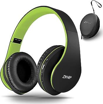 zihnic Auriculares Bluetooth Inalambricos, Cableados con Micrófono Plegables Estéreo Cascos Inalambricos Bajos Profundos para TV/PC/Teléfonos Celulares, Diadema con Orejeras Confortables-Negro/Verde: Amazon.es: Electrónica