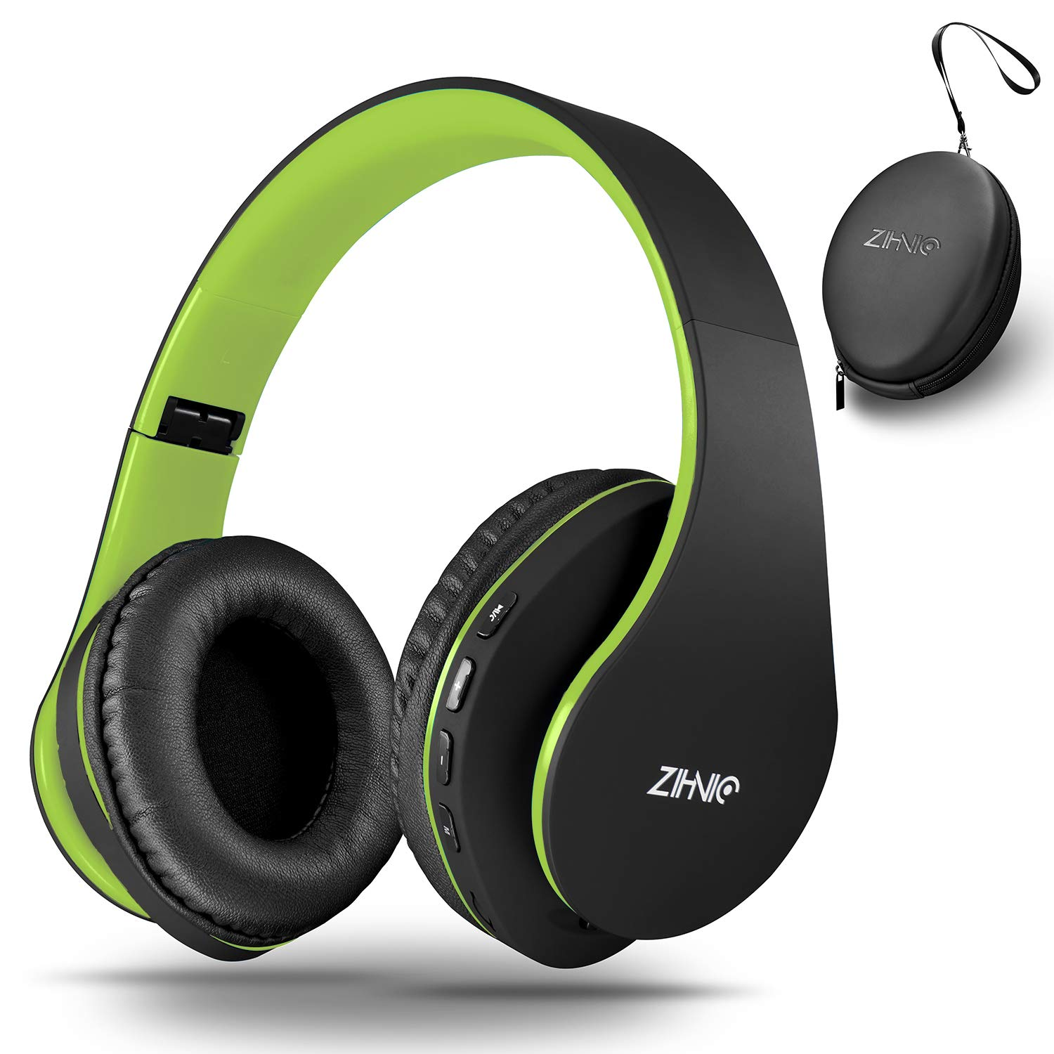 zihnic Bluetooth Headphones Over-Ear, Foldable Wireless and Wired Stereo Headset Micro SD/TF, FM for Cell Phone,PC,Soft Earmuffs &Light Weight for Prolonged Waring(Black/Green)