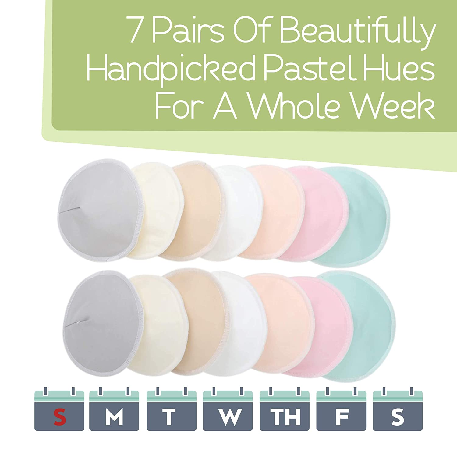 """Organic Bamboo Nursing Breast Pads - 14 Washable Pads + Wash Bag - Breastfeeding Nipple Pad for Maternity - Reusable Nipplecovers for Breast Feeding (Pastel Touch, Medium 3.9"""")"""