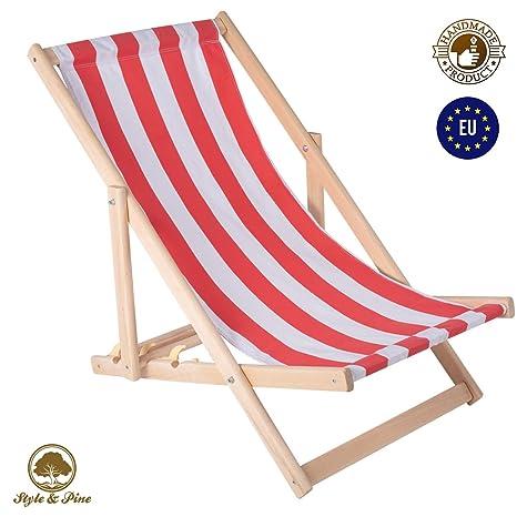 Amazinggirl Tumbona Plegable de Madera - Relax Tumbona para jardín para balcón Silla de Playa con Funda de Tela Intercambiables Rojo/Blanco