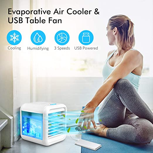 Amazon Com Personal Air Cooler Portable Air Conditioner With Icebox Usb Desk Fan With 3 Speeds Evaporative Air Cooler For Home Office Outdoor Use Air Humidifier Usb Charging 7 Light Colors