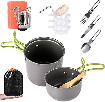 G4Free Utensilios de Cocina para Acampar Pan Senderismo Cocina al Aire Libre Picnic Bowl Cubiertos Cuchara Estufa Juego 4-16 Piezas Una a Dos Personas ...