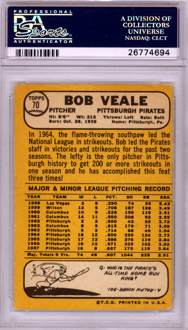 Bob Veale Autographed 1968 Topps Card #70 Pittsburgh Pirates PSA/DNA #26774694 at Amazons Sports Collectibles Store