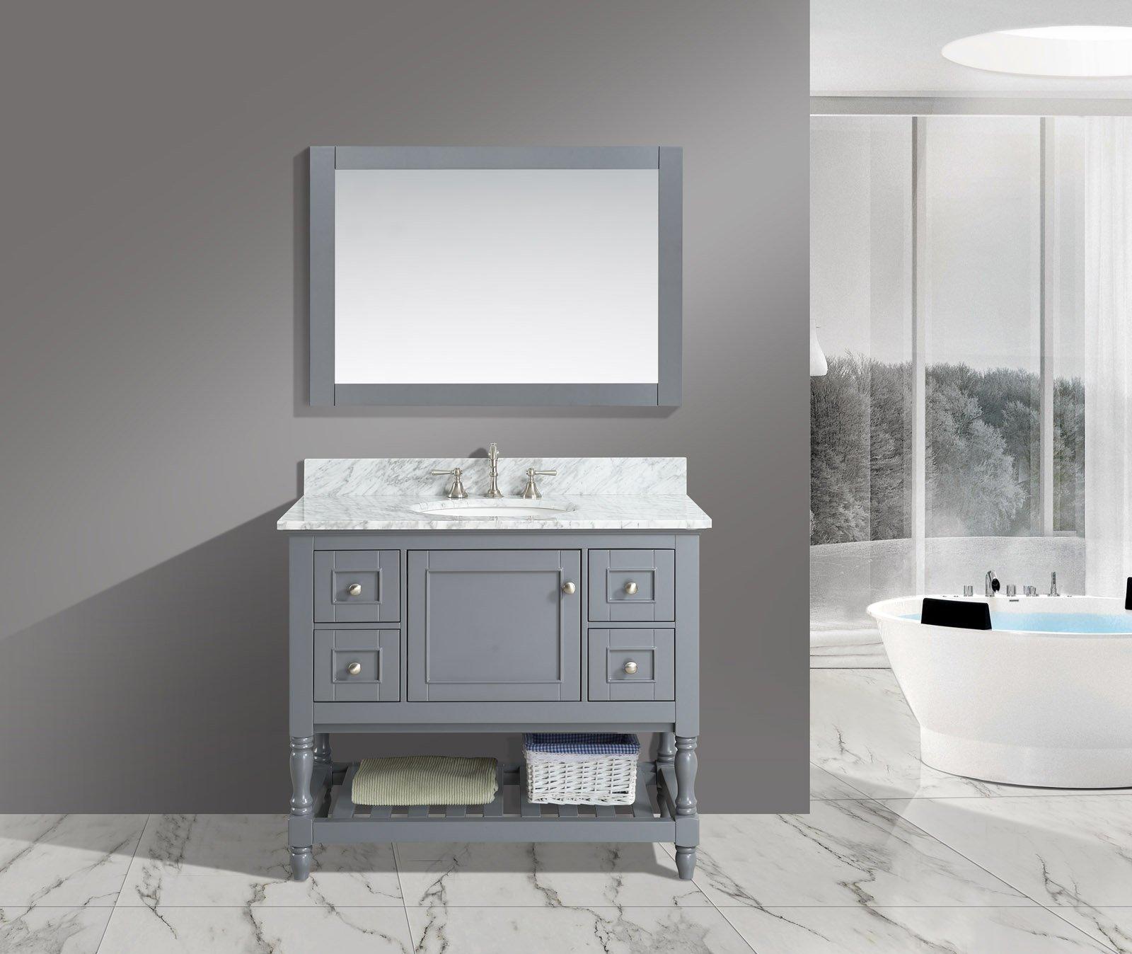 UrbanFurnishing.net - Silvia 42-Inch (42'') Bathroom Sink Vanity Set with White Italian Carrara Marble Top - Charcoal