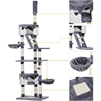 Yaheetech XXL Kratzbaum für Katzen - Kletterbaum Höhe 227,5-254,5 cm, höhenverstellbar deckenhoch