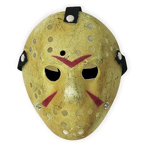 CASACLAUSI Jason Máscara Cosplay Víspera de Todos los Santos Disfraz Horror Hockey (Adulto, Amarillo