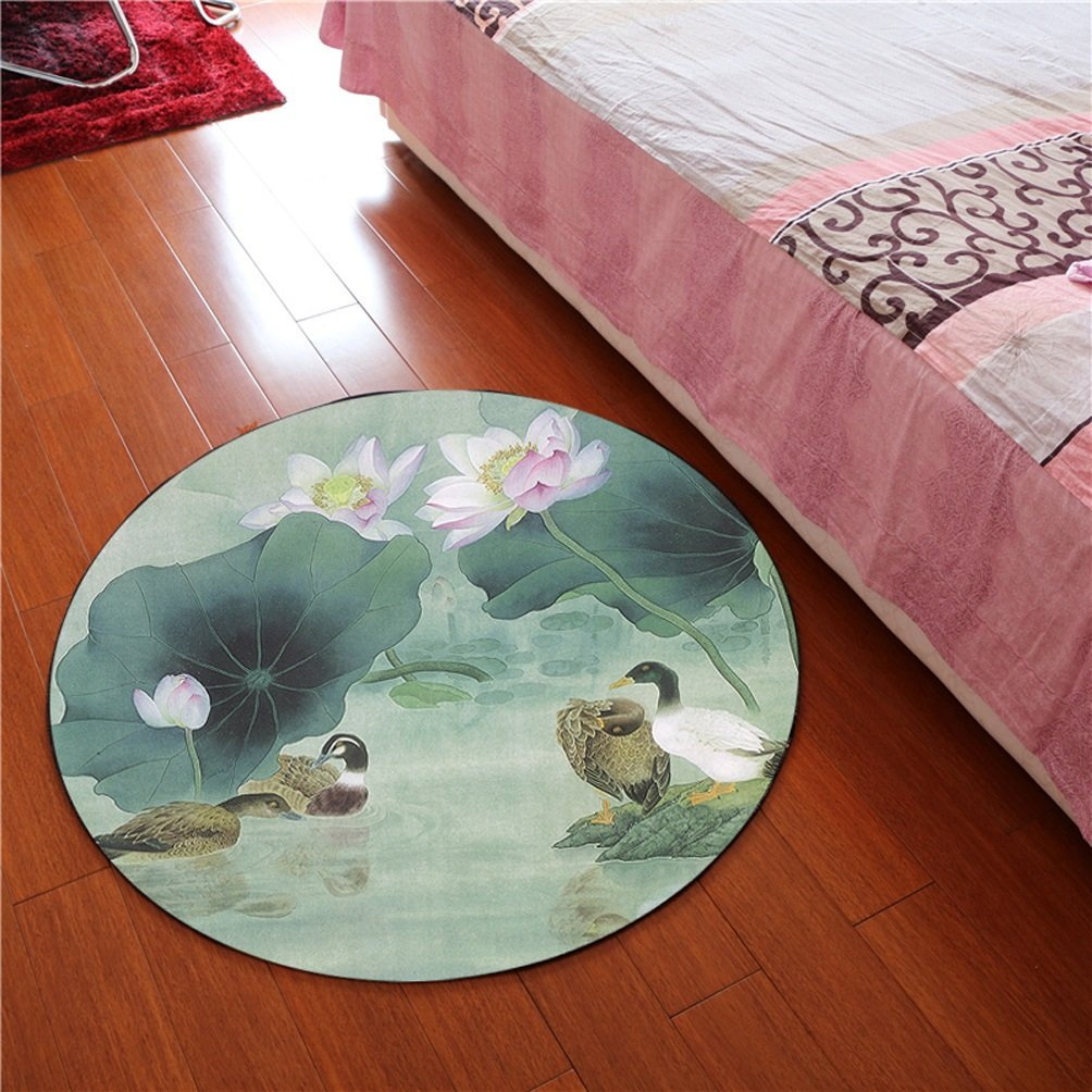 WAN SAN QIAN- 3D Round Carpet Chinese Office Carpet Basket Swivel Chair Carpet Mats Children Bedroom Lotus Carpet Rug ( Color : C , Size : 120x120cm )
