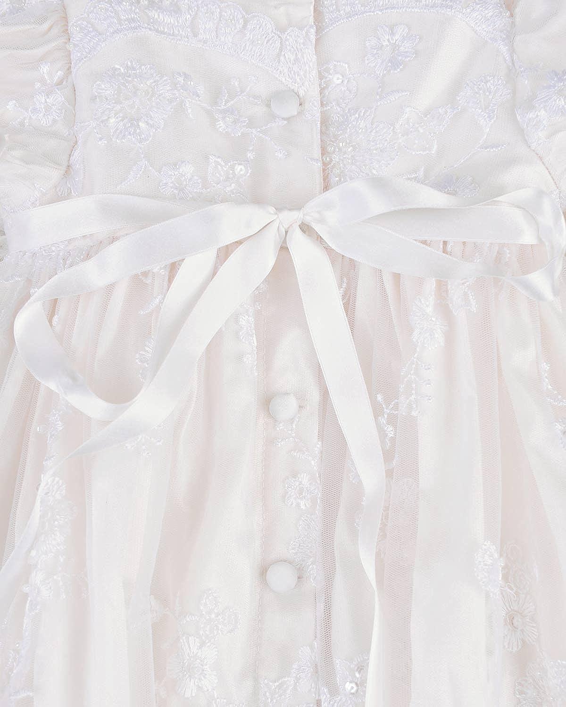 Made in USA Preslee Silk Designer Beaded Christening Baptism Gowns for Girls