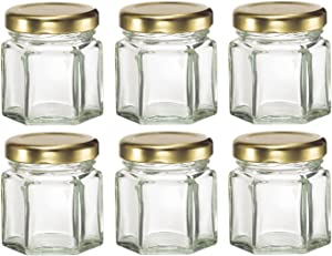 Nakpunar 6 pcs, 1.5 oz Mini Hexagon Glass Jars for Jam, Honey, Wedding Favors, Shower Favors, Baby Foods, DIY Magnetic Spice Jars