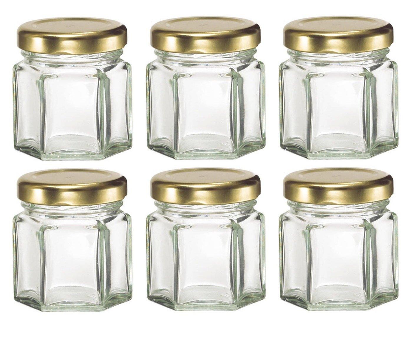 Nakpunar 6 pcs , 1.5 oz Mini Hexagon Glass Jars for Jam, Honey ...