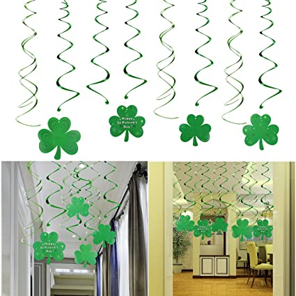 St Patrick Day Party Decoration Swirls 30 Pack St Patricks Day Hanging Decorations Lucky Irish Green Shamrock Clover St Patrick S Day Foil Swirl For