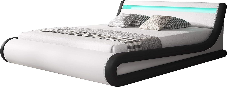 muebles bonitos Cama canapé abatible de Matrimonio Moderna Parisina con somier de láminas para colchón de 150x190cm Blanco Negro diseño Italiano con ...