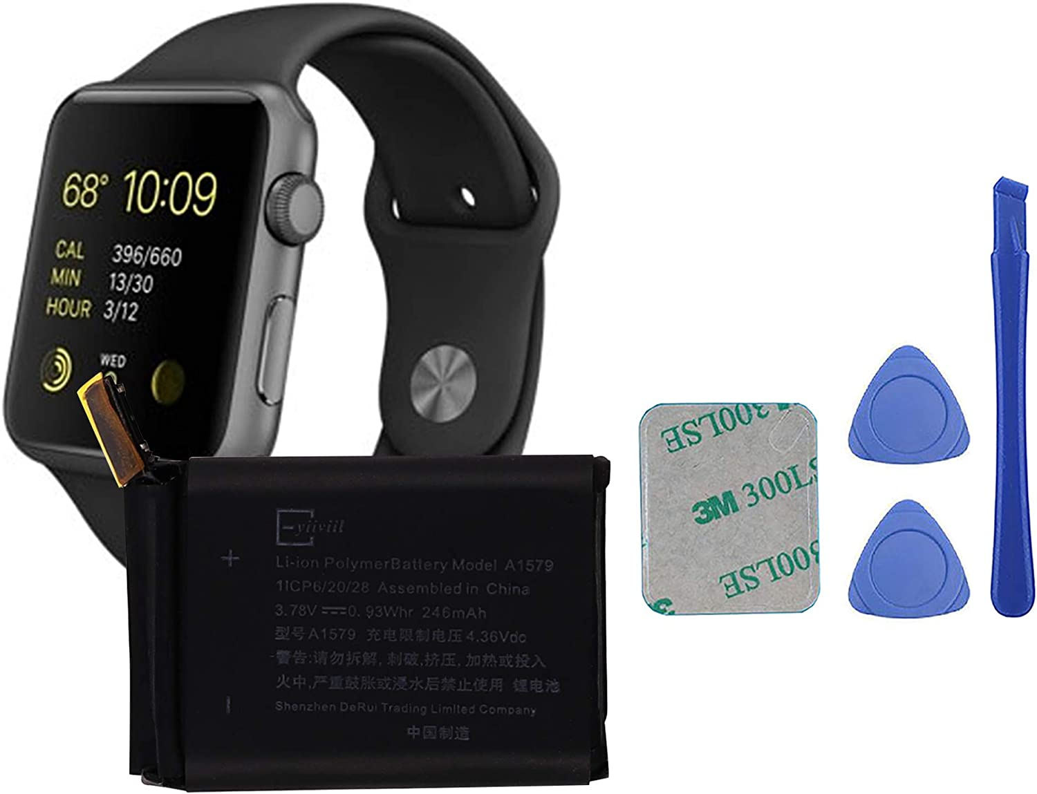 E-YIIVIIL A1579 Replacement Battery Compatible with Apple A1554 42mm (1st Generation) iWatch Smart Watch with Toolkit