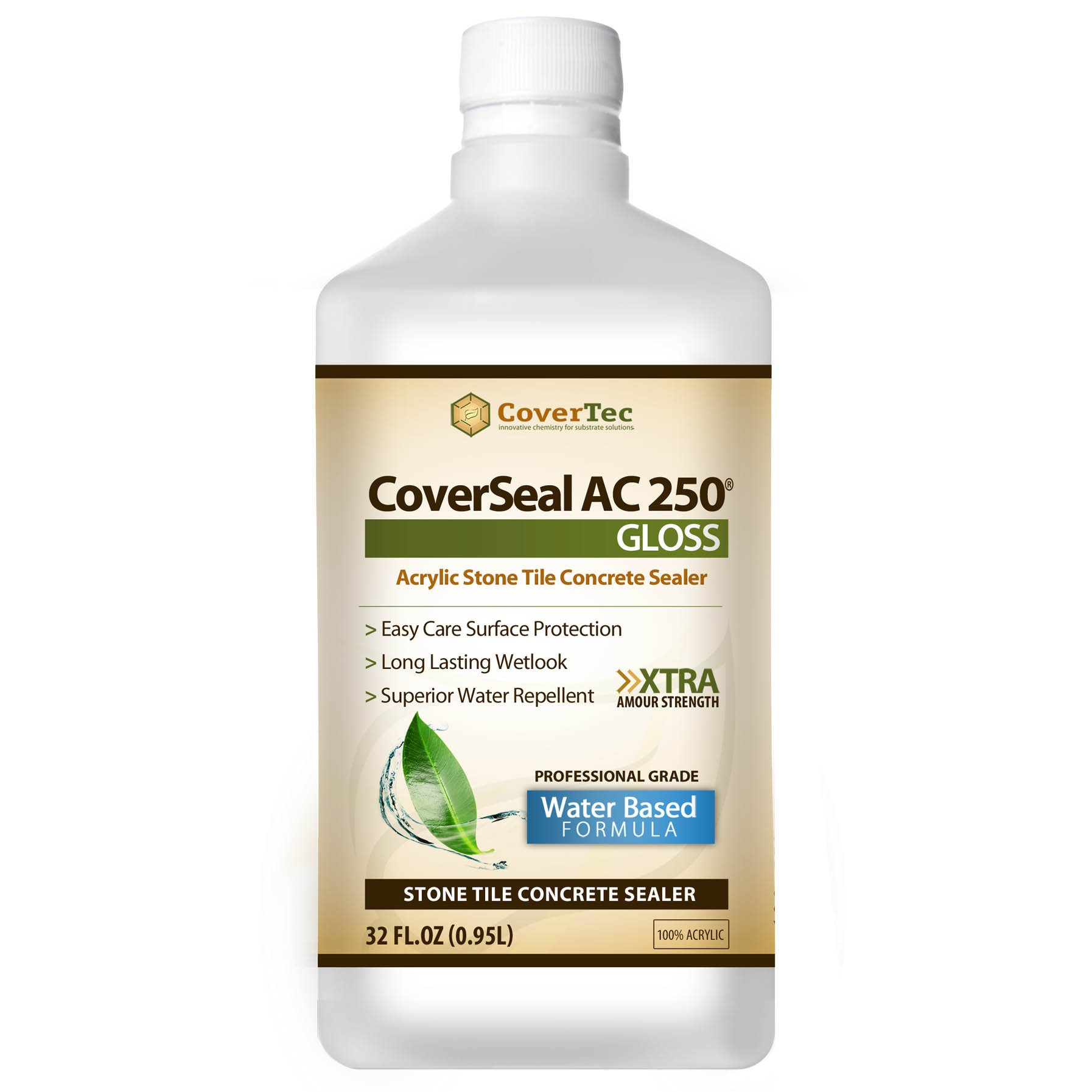 CoverSeal AC250 WetLook Gloss Stone, Tile & Concrete Sealer, Water Based (1 Qrt - Prof Grade)