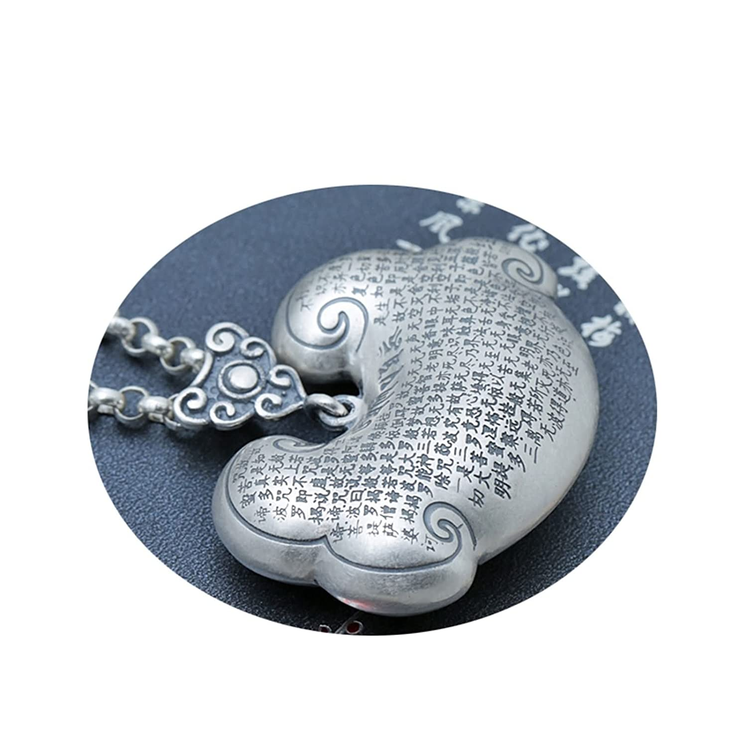 KnSam Mens Womens Sterling Silver Necklace with Pendant Vintage Retro Chain Longevity Lock Silver