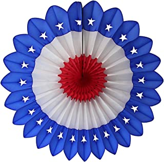 product image for 3-Pack 27 Inch Extra-Large Honeycomb Tissue Paper Party Fanburst Decoration in Seasonal Themes (Patriotic Star - Blue/White/Red)