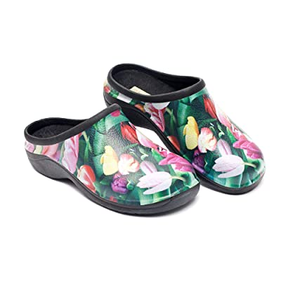 Backdoorshoes Waterproof Premium Garden Clogs with Arch Support-Tulip Design | Mules & Clogs