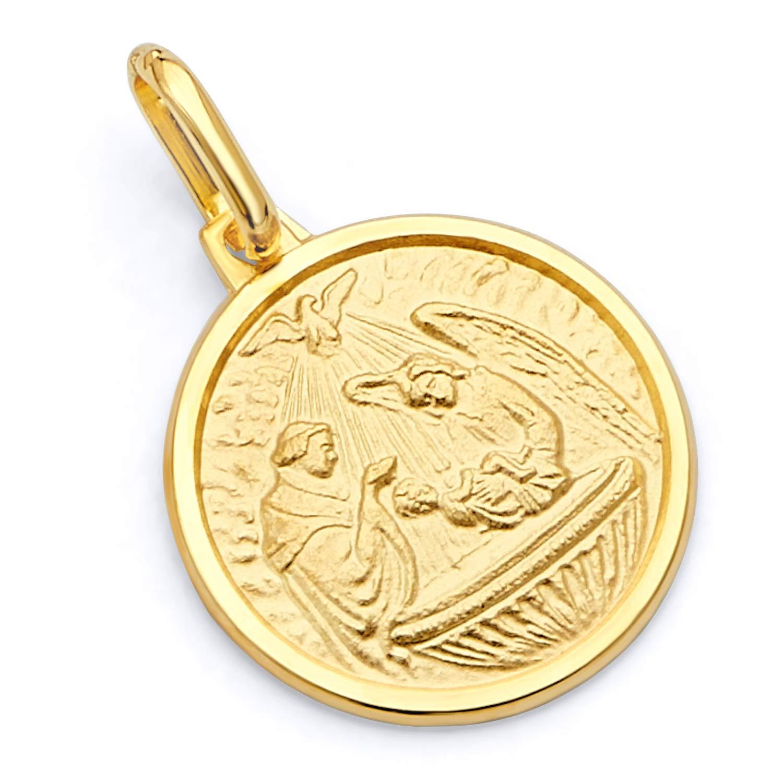 Wellingsale 14K Yellow White Gold Polished Religious Baptism Medallion Charm Pendant OR