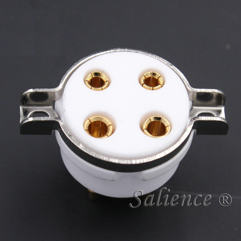 10Pcs 4Pin Ceramic Vacuum Tube Socket Valve Base For 811 300B 5U4G 2A3 572B 71A