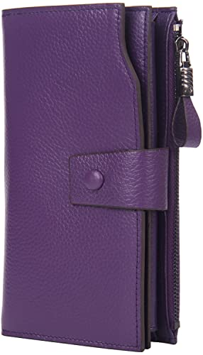 InClovers Womens RFID Blocking Large Capacity Luxury Wax Genuine Leather Clutch Wallet Card Organize...