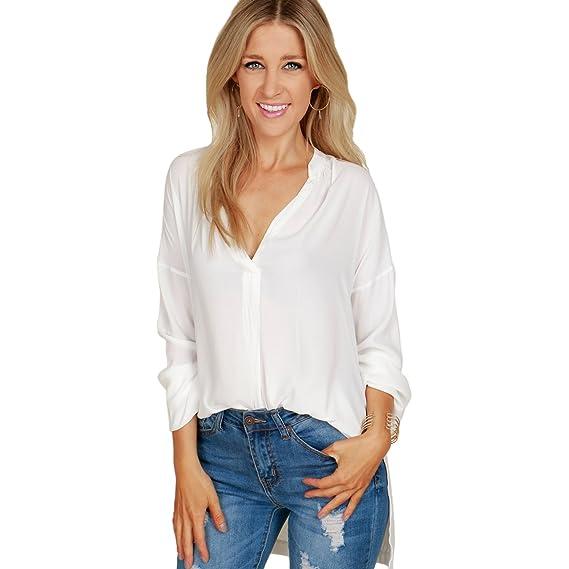TOOGOO Blusa de Chifon de Mujer Primavera Otono Camisa Suelta de V-Cuello Profundo de