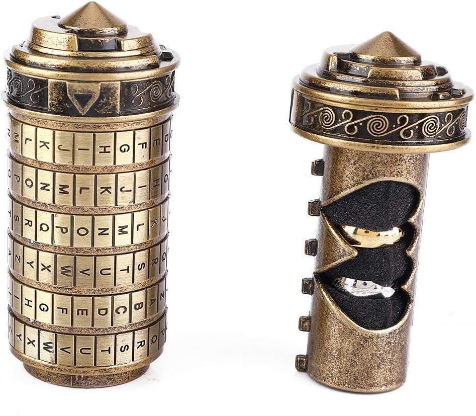 Mini Cryptex Lock Romantico Regalo Anniversario Compleanno Scatole con 2 Anello e Biglietto Auguri Festnight Da Vinci Code con Il Signore degli Anelli Retro Regalo Uomo Donna Bambini