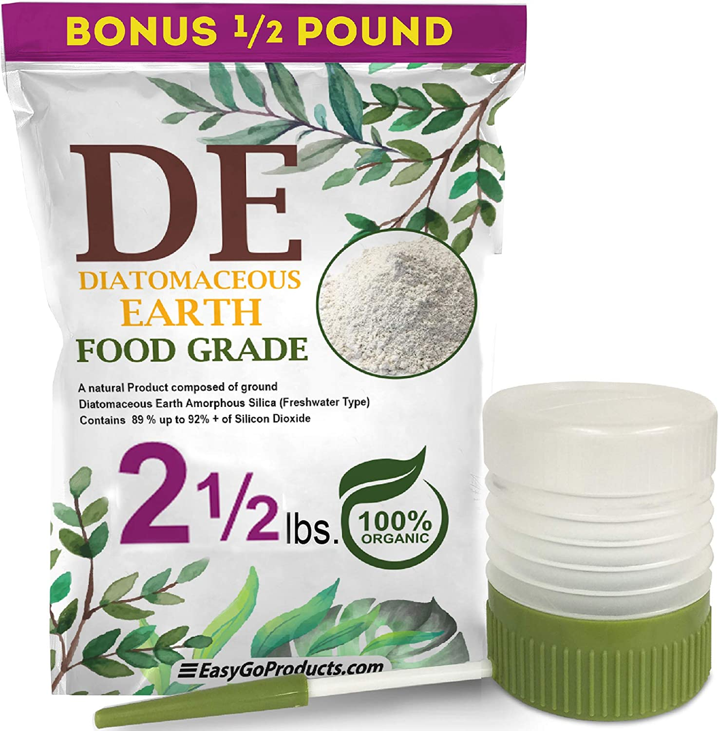 EasyGo Products Diatomaceous Earth - 100% Natural Food Grade - DE Fresh Water - 2.5 Pounds- with Powder Duster