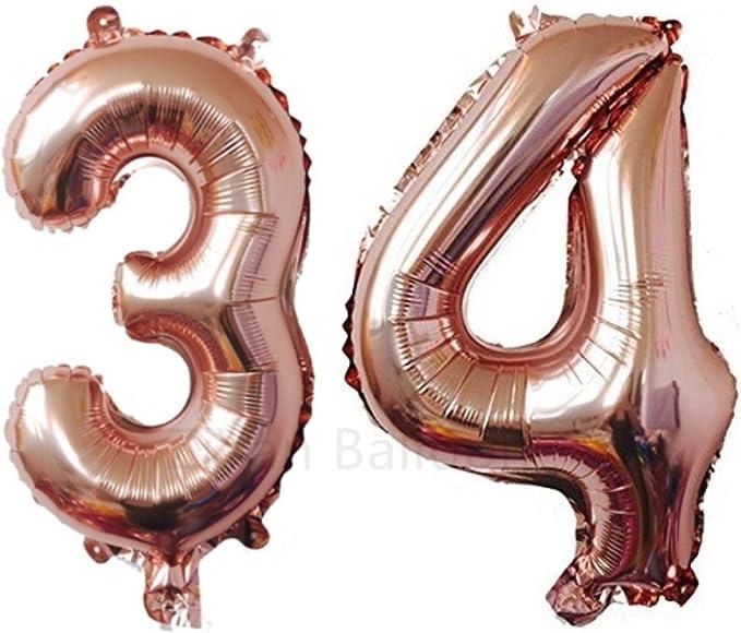 """Giant Rose Numéro 7 ou 7th Anniversaire Foil Balloon 34""""//86cm"""