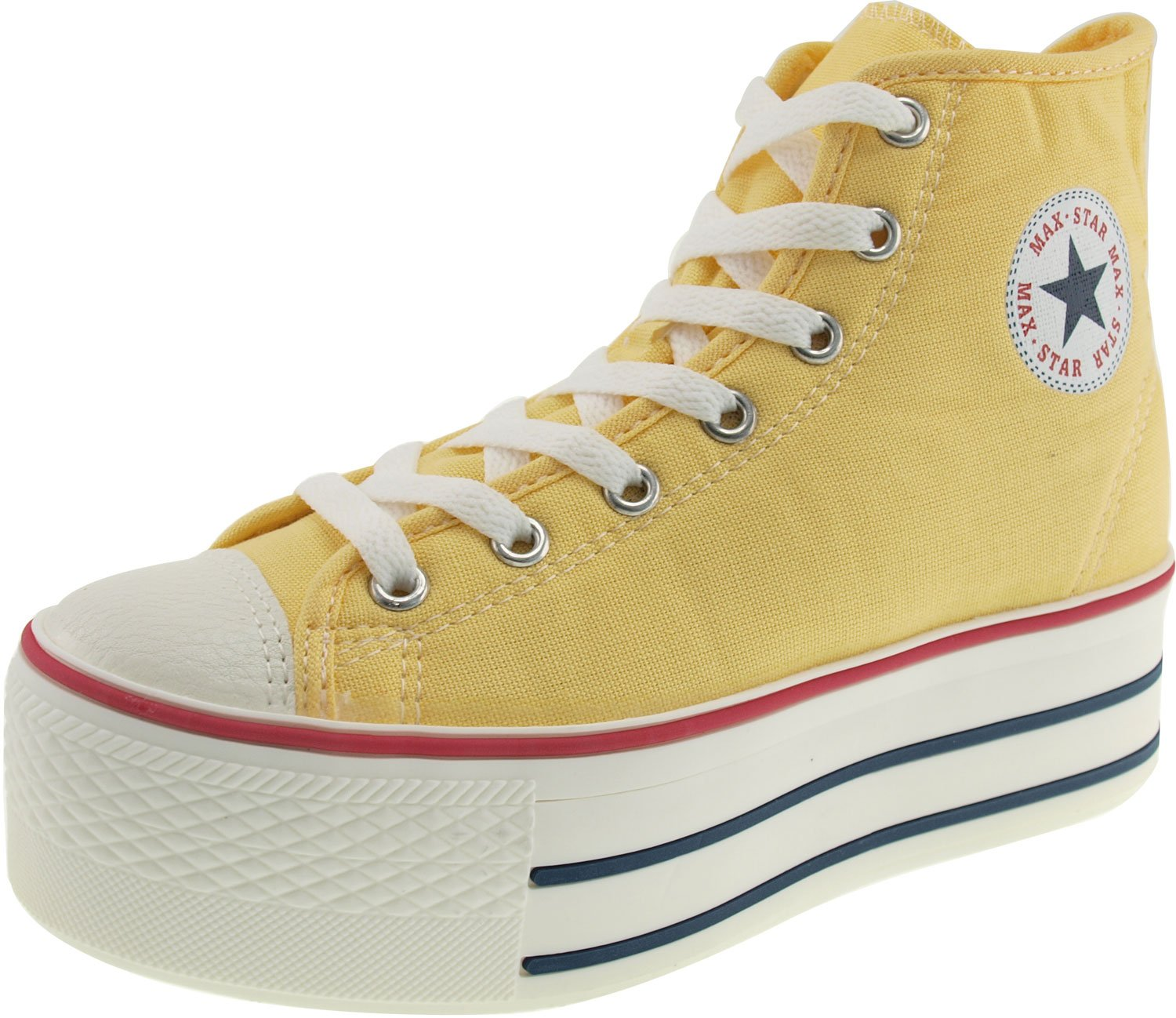 Maxstar Women's C50 7 Holes Zipper Platform Canvas High Top Sneakers B00NTTDYYS 10 M US|Yellow
