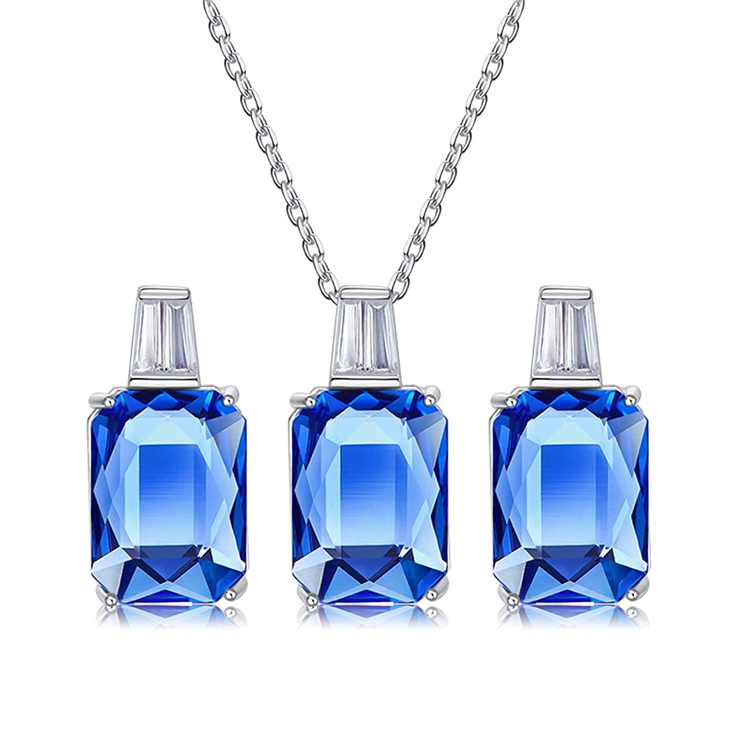 Aokarry Jewelry Set Women Sterling Silver Earring and Necklace Set Trapezoid Blue