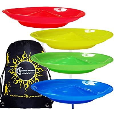 4x Spinning Plate Set (Yellow/Red/Green/Blue) CLASSIC Circus Spinning Plates + 2-Piece Plastic Sticks + Flames N Games Travel Bag! Great fun for Kids & Adults.: Toys & Games