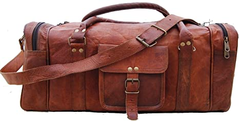 Vintage Hommes cuir véritable voyage bagages CAMPING Carry On Sac a bandouliere