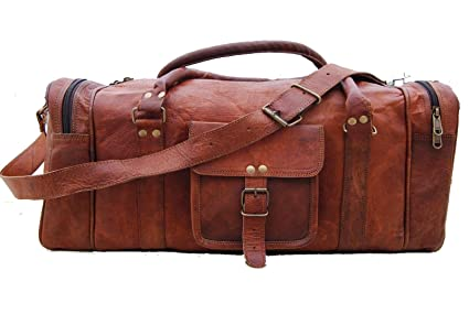 71ee8f5ab5c2 24 quot  Men s genuine vintag Leather large duffle travel gym weekend  overnight bag