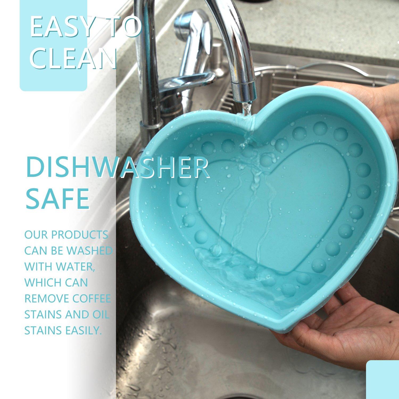 Heart Shape Silicone Baking Mold Nonstick Cake Pan 9 Inch Baking Pan Big for Cake Bread Pie Flan Tart DIY - FDA & BPA Free (9.8''x9''x2.8'') - Blue by DOSHH (Image #5)