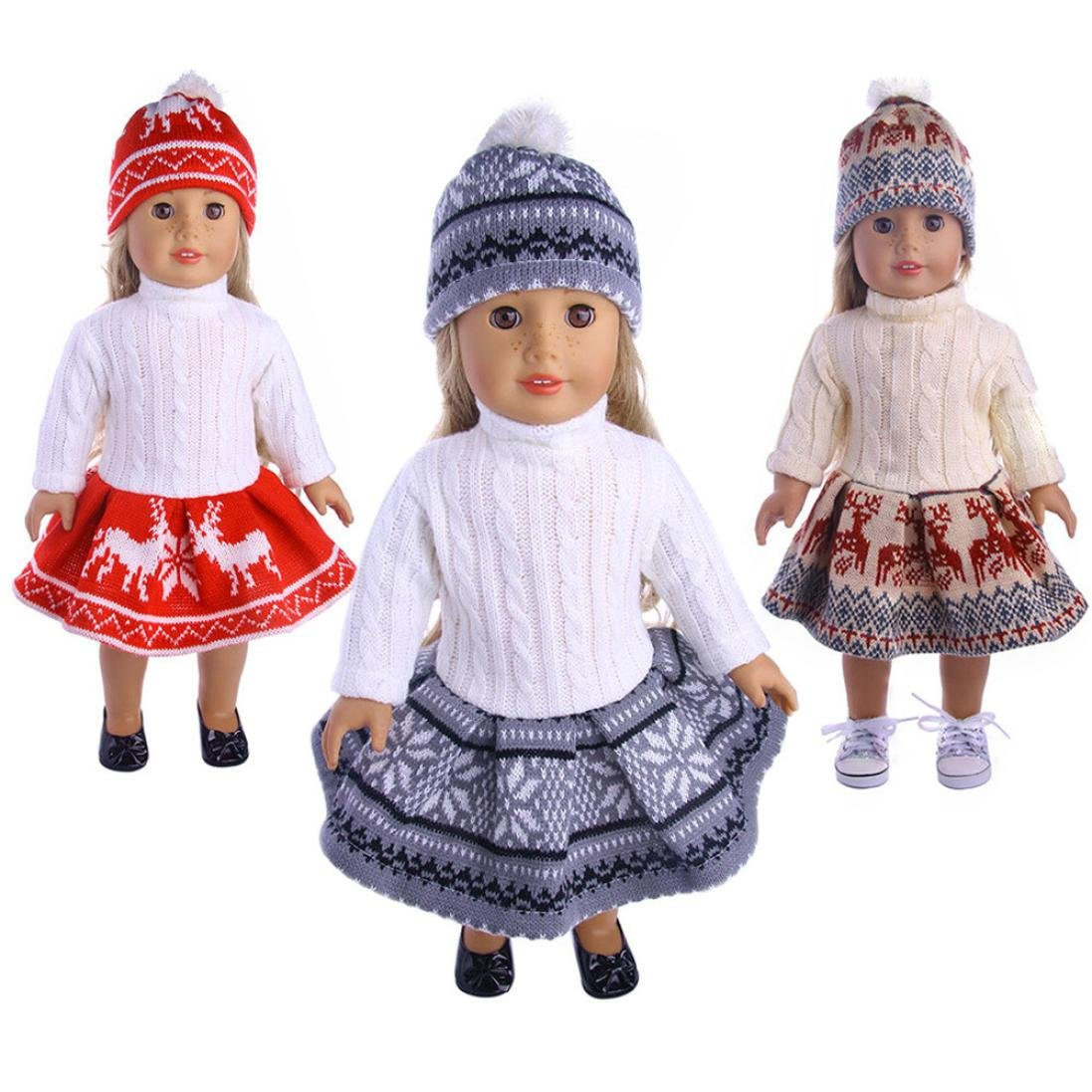 WensLTD Clearance! Cute Sweater Outfit Reindeer Snowman Sweater & Cap For 18 inch American Girl Doll