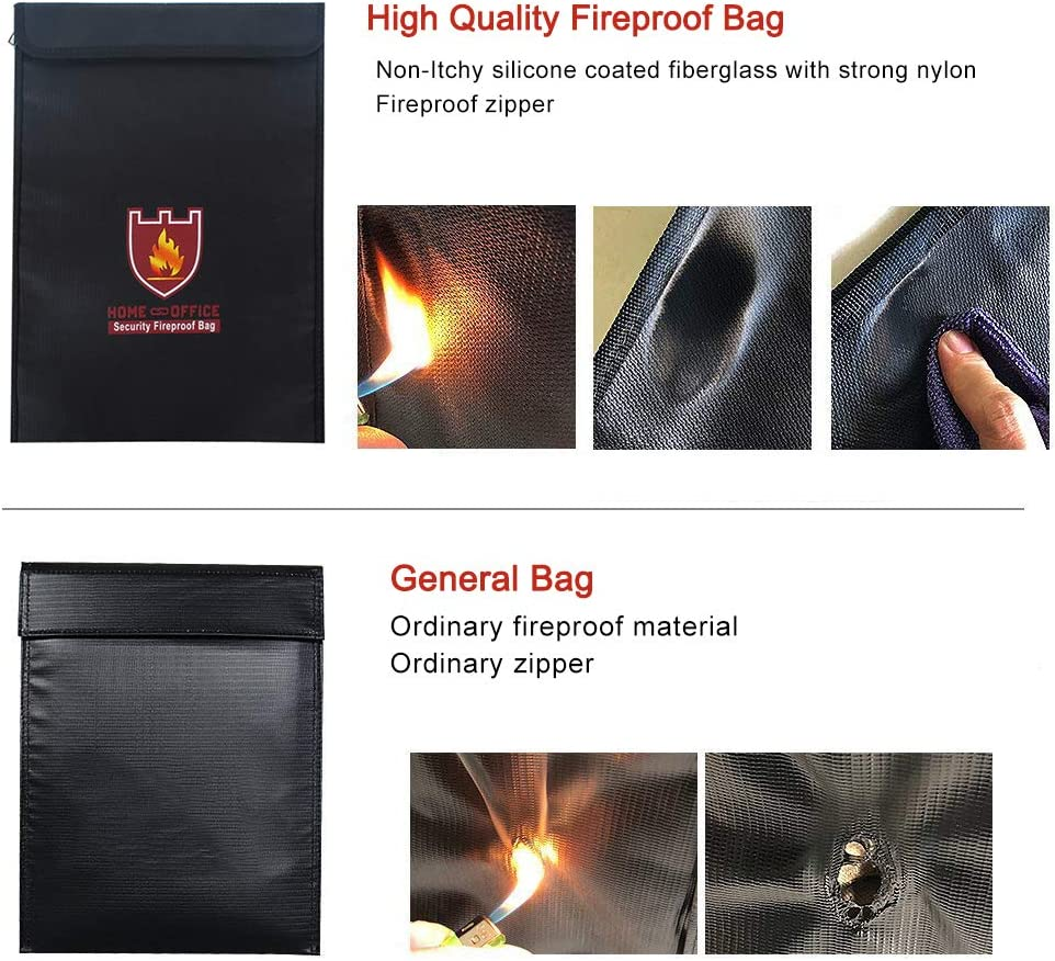 Waterproof Document Bag Batteries and Valuable items Jewelry Safe Fire Resistant Protective Bag with Two Sided Aluminum Foil Coated for Document Black Passport Fireproof Document Bag