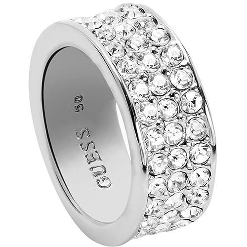 Guess Damen-Ring Messing Glas weiß – UBR28520